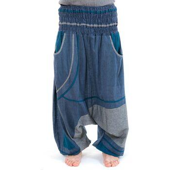 Vêtements Pantalons fluides / Sarouels Fantazia Sarouel elastique grande taille large Bayan Bleu
