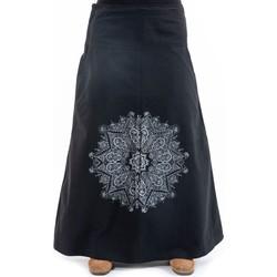 Vêtements Femme Jupes Fantazia Jupe longue mandala twill doux Noir