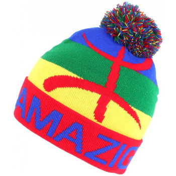 Accessoires textile Homme Bonnets Nyls Création Bonnet Pompon Berbère bleu vert et Jaune Amazigh Rouge