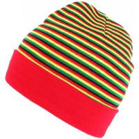 Accessoires textile Homme Bonnets Nyls Création Bonnet court rouge jaune et vert rasta en laine Dutty Rouge