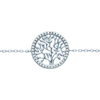 Montres & Bijoux Femme Bracelets Brillaxis Bracelet  arbre de vie empierré Blanc