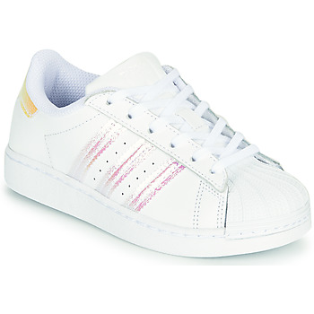 Chaussures Fille Baskets basses adidas Originals SUPERSTAR C Blanc / Iridescent