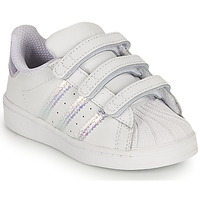 Chaussures Fille Baskets basses adidas Originals SUPERSTAR CF I Blanc / Iridescent