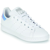 Chaussures Fille Baskets basses adidas Originals STAN SMITH J Blanc / Iridescent