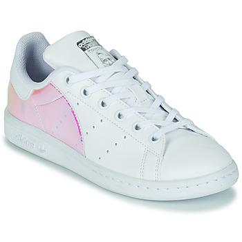Chaussures Fille Baskets basses adidas Originals STAN SMITH J ECO-RESPONSABLE Blanc / Iridescent