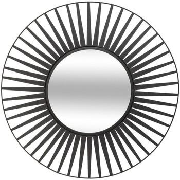 Maison & Déco Miroirs Atmosphera Miroir en métal soleil D50 Noir