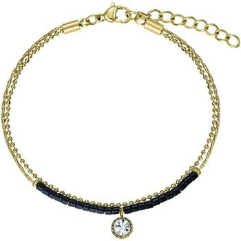 Montres & Bijoux Femme Bracelets Go Mademoiselle Bracelet  acier doré et perles noires Jaune