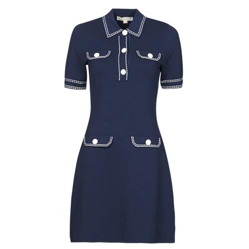 Vêtements Femme Robes courtes MICHAEL Michael Kors CONTRAST STITCH BUTTON DRESS Marine