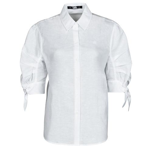 Vêtements Femme Chemises / Chemisiers Karl Lagerfeld LINENSHIRTW/BOWS Blanc