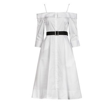 Vêtements Femme Robes longues Karl Lagerfeld COLDSHOULDERSHIRTDRESS Blanc