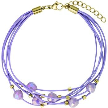 Montres & Bijoux Femme Bracelets Go Mademoiselle Bracelet  multi-rangs cuir violet Violet