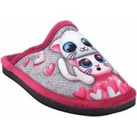 Chaussures Fille Chaussons Gema Garcia Rentrer à la maison fille  2300-1 fuxia Gris
