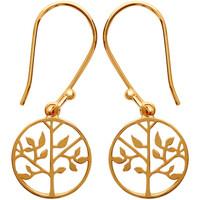 Montres & Bijoux Femme Boucles d'oreilles Brillaxis Boucles d'oreilles  arbre de vie plaqué or Jaune