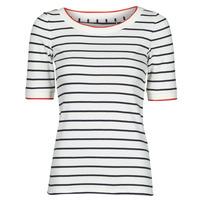 Vêtements Femme T-shirts manches courtes Esprit RAYURES COL ROUGE Blanc
