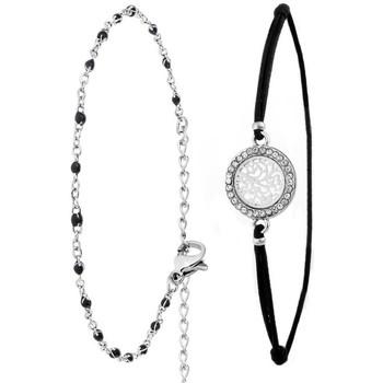 Montres & Bijoux Femme Bracelets Sc Bohème B1368+B2381-NOIR Argenté