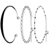 Montres & Bijoux Femme Bracelets Sc Bohème B1430-NOIR+B2379-ARGENT+B2381-NOIR Argenté