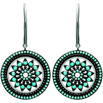 Montres & Bijoux Femme Boucles d'oreilles Brillaxis Boucles d'oreilles  rosace pierres bleues Blanc