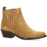 Chaussures Femme Boots So Send Boots cuir velours Cognac