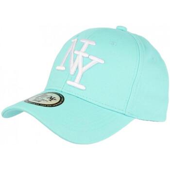 Accessoires textile Casquettes Hip Hop Honour Casquette NY Bleu Aqua et Noire Fashion Visiere Baseball Stazky Bleu