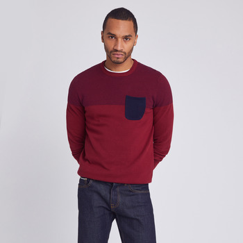 Vêtements Homme Pulls Jules Pull Col Rond Colorblock Poche Poitrine Rouge