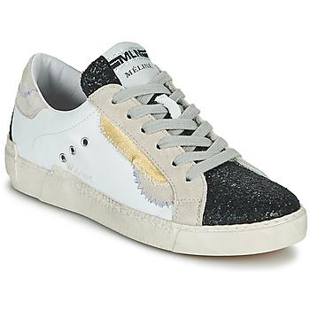 Chaussures Femme Baskets basses Meline NKC139 Blanc / Glitter Noir