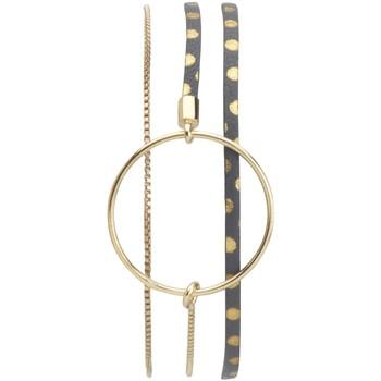 Montres & Bijoux Femme Bracelets Flowersforzoé Bracelet Nolah Pois gris dore FD T1 Jaune