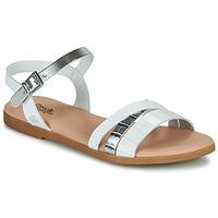 Chaussures Fille Sandales et Nu-pieds Citrouille et Compagnie OBINOU Blanc argent