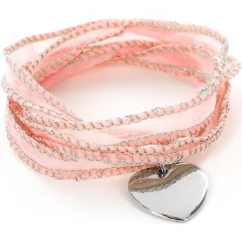 Montres & Bijoux Femme Bracelets Brillaxis Bracelet  soie rose coeur Blanc