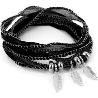 Montres & Bijoux Femme Bracelets Brillaxis Bracelet  soie noire trio de plumes Blanc