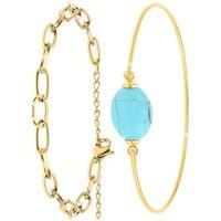 Montres & Bijoux Femme Bracelets Sc Bohème B2369-DORE+B2492-TURQUOISE Doré