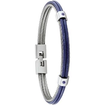 Montres & Bijoux Homme Bracelets Jourdan Bracelet homme  Fuf acier et cordelette bleue Blanc