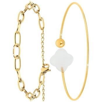 Montres & Bijoux Femme Bracelets Sc Bohème B2369-DORE+B2493-BLANC Doré