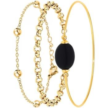 Montres & Bijoux Femme Bracelets Sc Crystal B2371-DORE+B2379-DORE+B2492-NOIR Doré