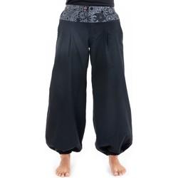 Vêtements Femme Pantalons fluides / Sarouels Fantazia Pantalon droit boule equitable Noir et gris - imprimé ceinture