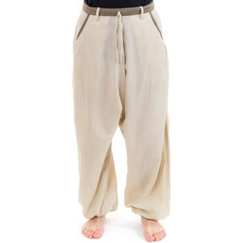 Vêtements Pantalons fluides / Sarouels Fantazia Pantalon sarouel droit casual Samadhi Beige chanvre et beige sable chiné noir