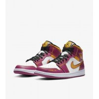 Chaussures Baskets montantes Nike Air Jordan 1 Mid Familia White/Fuchsia-Orange-Black