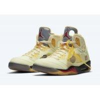 Chaussures Baskets montantes Nike Air Jordan 5 Off White Sail Sail/Fire Red-Muslin-Black