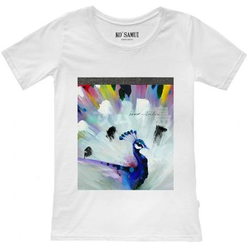 Vêtements Femme T-shirts manches courtes Ko Samui Tailors T-shirt blanc  motifs de plumes brillantes  K Blanc