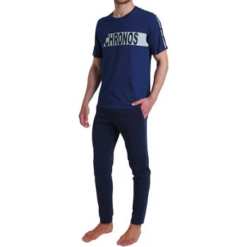 Vêtements Homme Pyjamas / Chemises de nuit Athena - pyjama long BLEU