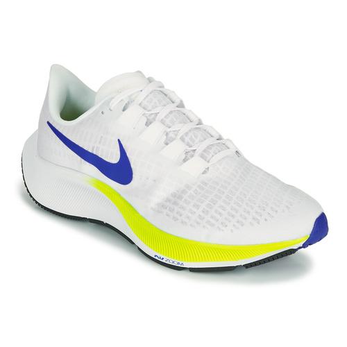 Nike AIR ZOOM PEGASUS 37 Blanc / Bleu / Jaune - Livraison Gratuite ...