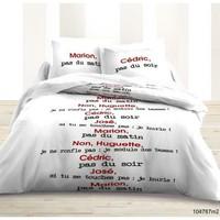 Maison & Déco Parures de lit Today Parure de housse de couette 240x220 coton SCENE DE MENAGE Blanc