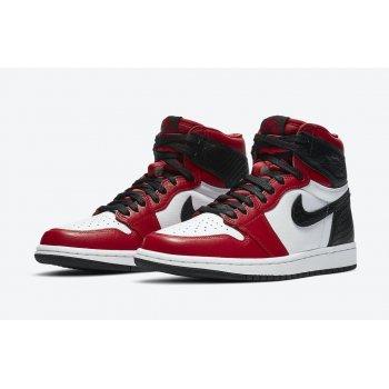 Chaussures Baskets montantes Nike Air Jordan 1 High WMNS Satin Snake Gym Red/White-Black