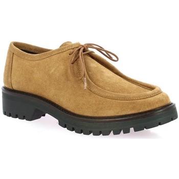 Chaussures Femme Derbies So Send Derby cuir velours Cognac