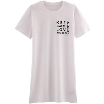 Vêtements Femme Pyjamas / Chemises de nuit Pommpoire Big t-shirt KEEP CALM Blanc