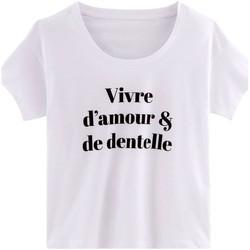 Vêtements Femme T-shirts manches courtes Pommpoire T-shirt VIVRE D'AMOUR Blanc