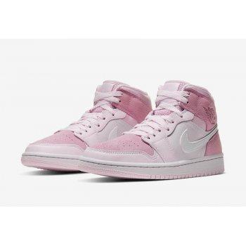 "Chaussures Baskets montantes Nike Air Jordan 1 Mid WMNS ""Digital Pink""  Digital Pink/White-Pink Foam-Sail"