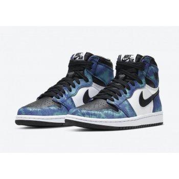 Chaussures Baskets montantes Nike Air Jordan 1 High Tie-dye White/Black-Aurora Green