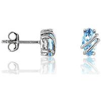 Montres & Bijoux Femme Boucles d'oreilles Cleor Boucles d'oreilles  en Argent 925/1000 et Oxyde Bleu Blanc