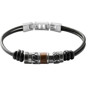 Montres & Bijoux Femme Bracelets Fossil Bracelet  en Cuir Noir Blanc