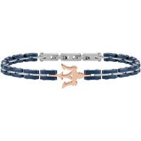 Montres & Bijoux Femme Bracelets Maserati Bracelet  en Acier Bicolore et Céramique Bleue Gris